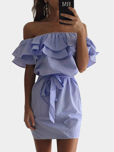Blue Off Shoulder Stripe Pattern Flouncy Detalhes Dress
