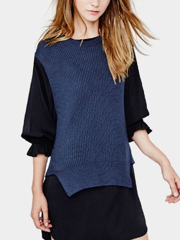 Fashion Round Neck Knitted Irregular Hem Gilet