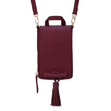 Red Leather-look Shoulder Bag with Tassel Embellished
