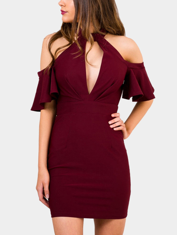 Wine Red Bodycon Cold-Shoulder Mini Dress