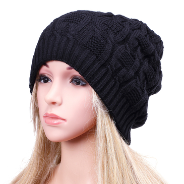 Black Fashion Hemp Knitted Turn Up Rib Beanie