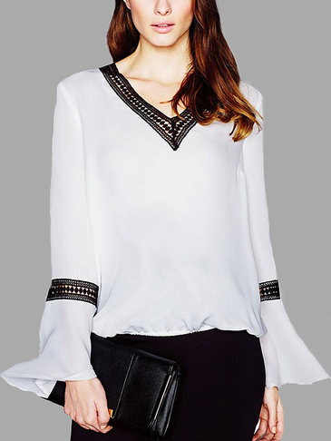 Sexy Patchwork Flared Sleeves Shirt Lace details