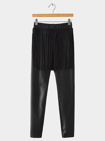 Thickening Leather Look Leggings with Fringe