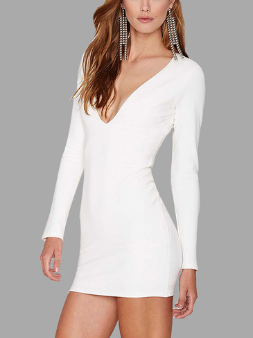 V Neck Bodycon Dress with Long Sleeve