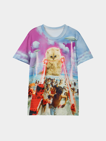 Animal Pattern Round Neck Loose T-shirts