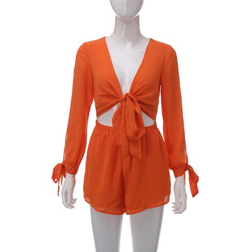Orange Split Sleeves Self-tie Playsuit