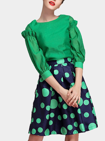 Green Black Puff-sleeve Top