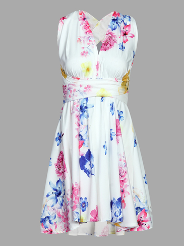 Random Floral Print Plunge Cross Back Backless Mini Dress