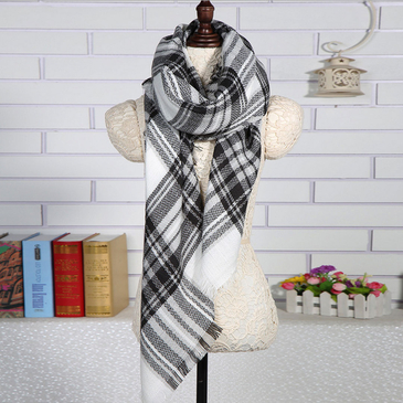 Square Checked Shawl Scarf in White