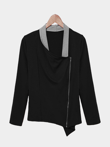 Long Sleeve Top in Black with Asymmetric Zip Fastening