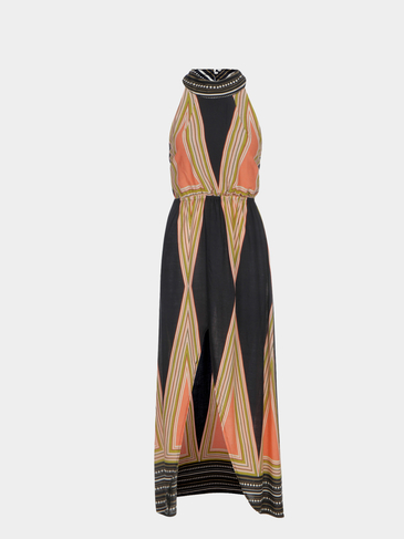 Vintage Halter Neck Striped Print Backless Maxi Dress