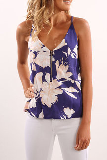 Light Blue Rancom Floral Print V-neck Cami with Zipper Design