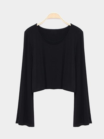 Black Flared Sleeves Simple Style Cropped T-shirt