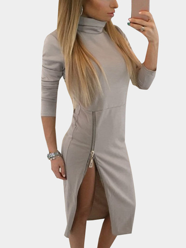 Khaki High Neck Long Sleeves Zip fastening Hem Midi Dress