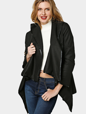 Black High Neck Frente Wrapped Trench Coat