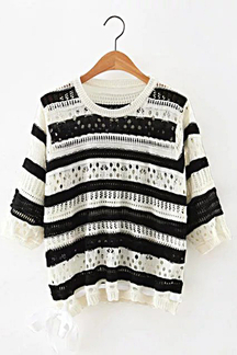 Stripe Pattern Hollow Out Knit