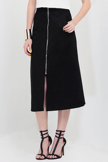 Black Zipper Front A-line Midi Skirt with Split Hem
