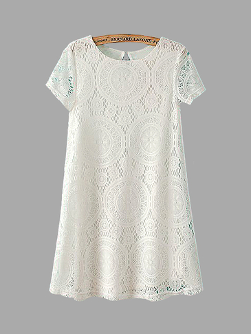 White Crochet Lace Swing Dress