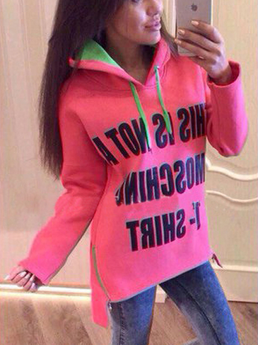 Pink Letter Pattern Side Zipper Hoodie with Step Hem