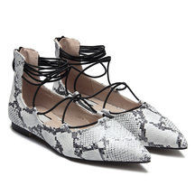 White Random Print Snake-effect Pointed Toe Flat