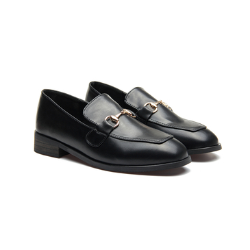 Black Classic Leather Look Metal Clasp Slip-on Loafers