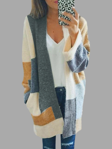 Casual Knitted Color Cardigans Design Bloco