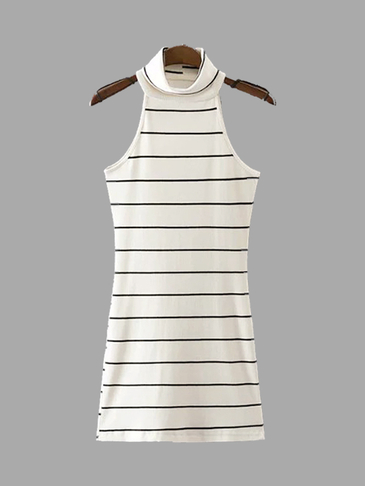 Knit High Neck Stripe Pattern Sleeveless Mini Dress