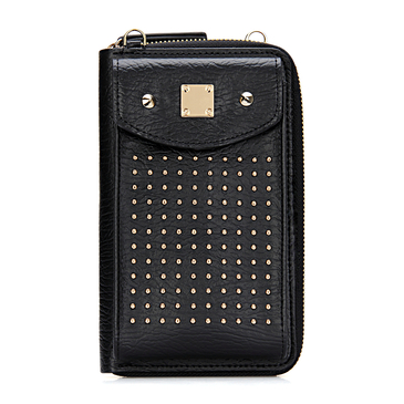 Foldover Leather-look Zipper Mobile Purse in Black