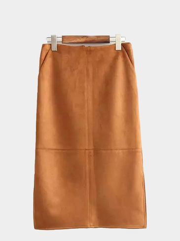 High-rise Waist Suede Midi Skirt