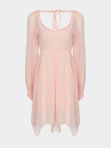 Pink Cold Shoulder Pleats Round Neck Dress with Long Sleeves
