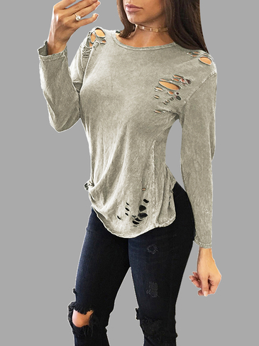 Sexy Olive Green Round Neck Ripped T-shirt With Long Sleeves