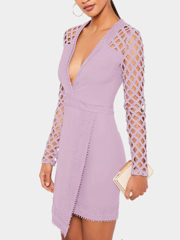 Purple Sexy Deep V-Neck Hollow Lace Details Mini Dress
