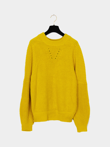 Boyfriend Style Ribbed Knit Jumper in Yellow