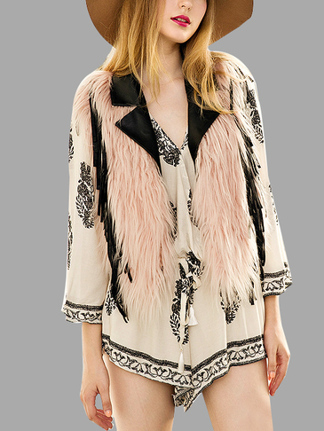 Sleeveless Fringe Open Front Artificial Fur Outerwear