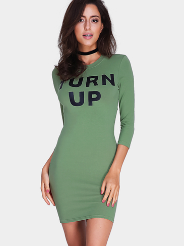 Green Letter Pattern Cutout Back Bodycon Dress