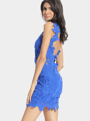 Blue Crochet Lace Backless Mini Dress