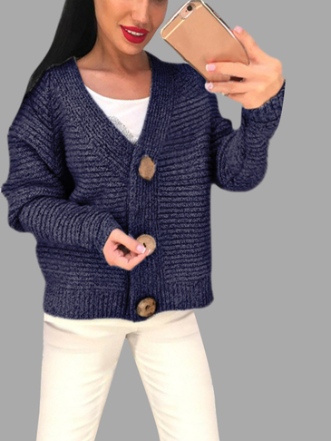 Dark Blue Long Sleeves Loose Jumper with Button Closure