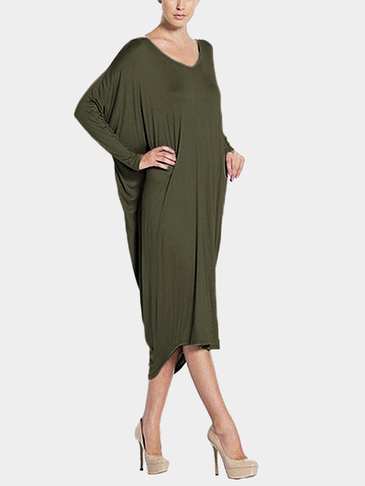 Army Green Loose Backless Long Sleeves Irregular Casual Dress