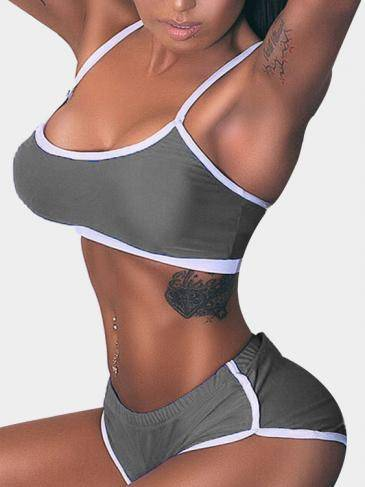 Bodycon Yoga Top & Bottom Set em cinza