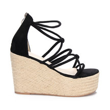 Schwarze Wildleder-Look-Cross-Riemen-Wedge-Sandalen