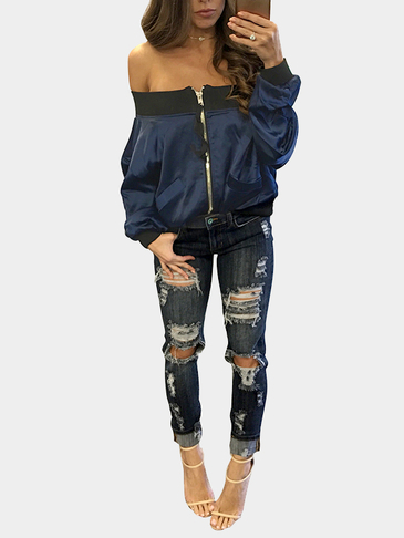 Navy  Sexy Off-shoulder Zipper Front Pocket Long Sleeves Jacket