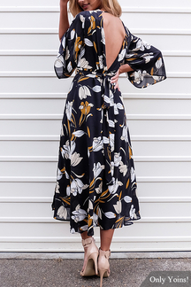 Fashion Random Floral Print V-neck Open Back Maxi Dress