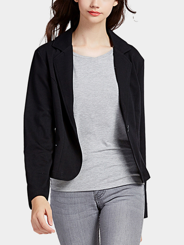 Black Fashion One Button Closure Front Blazer
