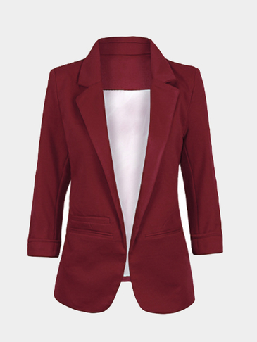 Burgundy Fashion 3/4 Length Sleeves Open Front Blazer