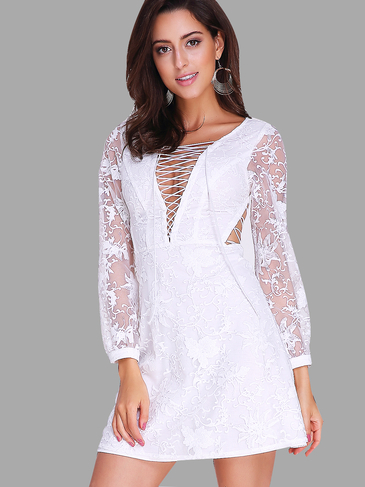 Criss-Cross V-neck Open Back Lace Dress in White