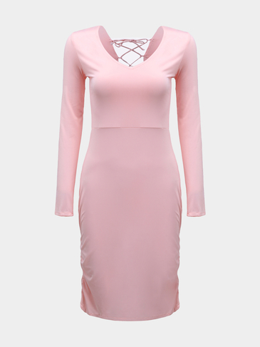 Back Lace-up Midi Dress in Pink