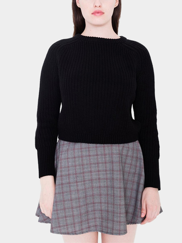 Chic Black Long Sleeves Cropped Knit Sweater