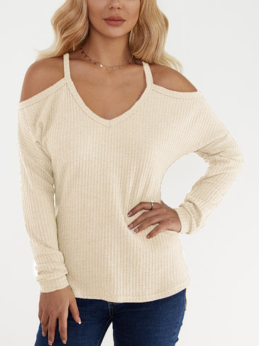 Casual Beige Thin Shoulder Cold Shoulder Long Sleeve T-shirt