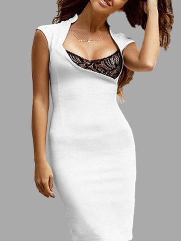 White Sexy Collar Sleeveless Dress