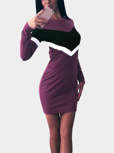 Round Neck Patchwork Design Causal Dress in Burgundy